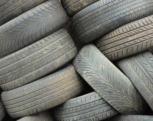 Car tyres in pile