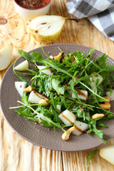 pear in a salad with balsamic dressing