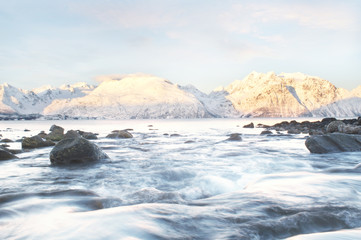 Winter fjords landscape, captured in northern Norway