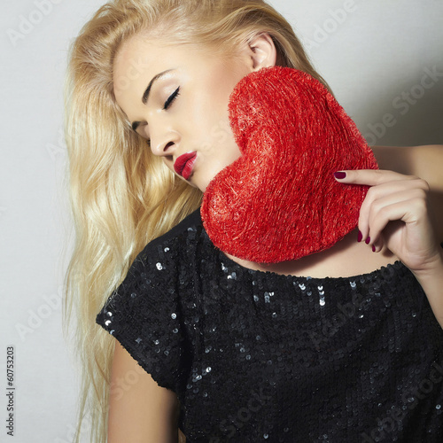 Beautiful Blond Woman with Red Heart.Love Symbol.Valentine's Day