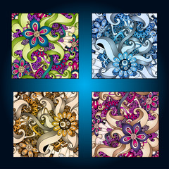 Set of four decorative ornamental ethnic cards in vector