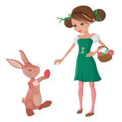 Easter bunny helping a cute girl to gather easter eggs