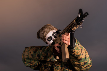 skull soldier aiming rifle
