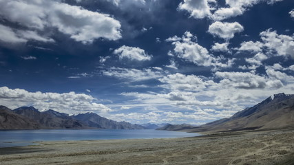 Pangong lake high view Ladakh time lapse