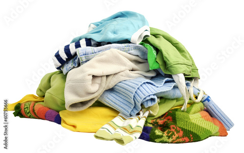 canvas print picture A pile of clothes on white background