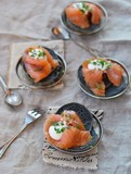 pancakes with sepia and  smoked salmon