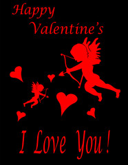 Valentine-Red Cupid  & Hearts Over Black