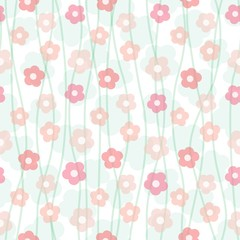 floral pastel seamless pattern, vector illustration