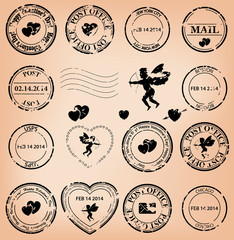 vector set - romantic grungy post stamps with angels and hearts