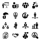 flat business iconset in black