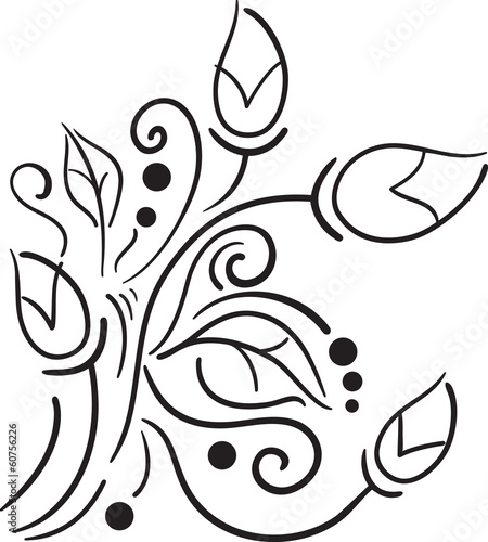 Vector black and white floral pattern on a white background