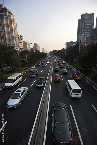 intense car traffic in Beijing, China