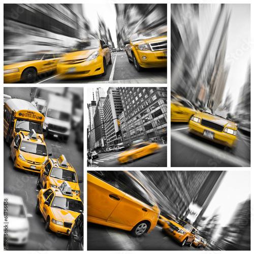 kolaz-taksowki-nowy-jork-zolty