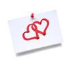 Zwei Herzen auf Zettel