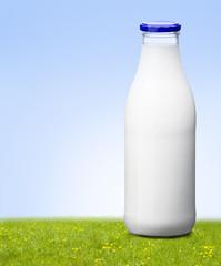 Milchflasche auf der Wiese
