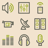 Media web icons, vintage series