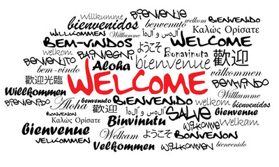 Welcome international host word tag cloud illustration