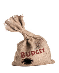 """Empty bag with holes that says """"Budget"""""""