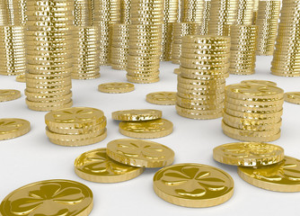 Golden coins pile (St Patric day)