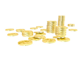 Golden coins pile on white background