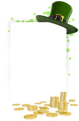 Postcard with St. Patrick's hat and coins