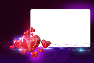 Wedding frame with hearts