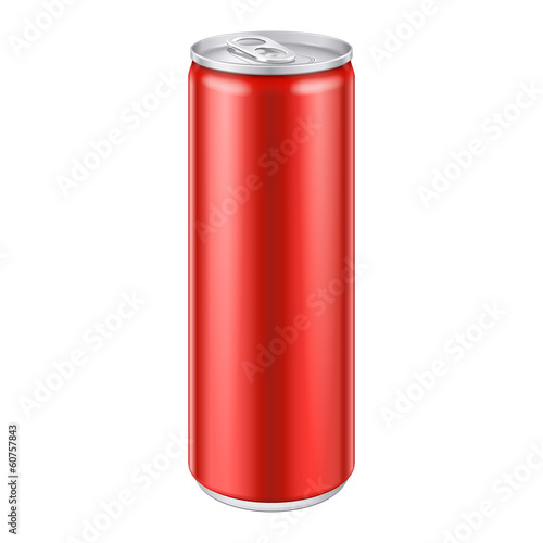 Red Metal Aluminum Beverage Drink Can. Ready For Your Design