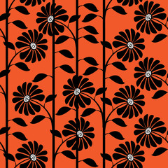 graphic chrysanthemum seamless pattern