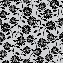 cute wild flowers seamless pattern