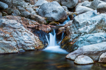 Waterfall and river low speed