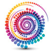 Abstract swirl shape  illustration with colorful dots