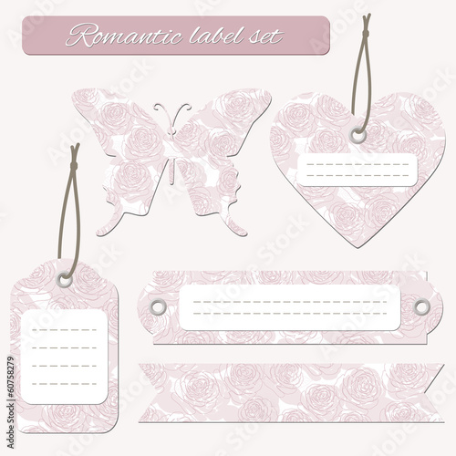 Romantic floral label tags set.