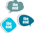 the end words on modern banner design template. stickers, labels