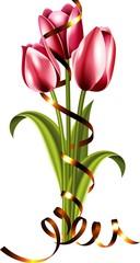 Букет ярких тюльпанов с конфетти