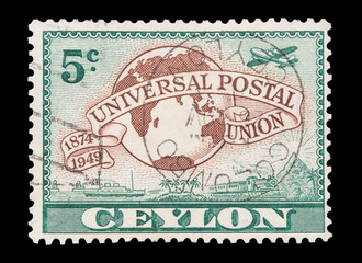 Mail stamp printed in Ceylon (now Sri Lanka), circa 1949