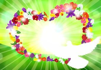 Сердце из цветов, контур голубя