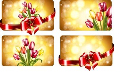 Визитки с тюльпанами на 8 марта
