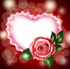 Белое сердце, розовая роза