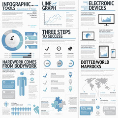 Big set of infographic elements blue business vector