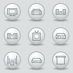 Audio video web icons, circle white matt buttons