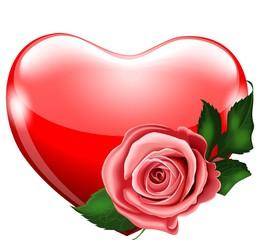 Красное сердце с розой