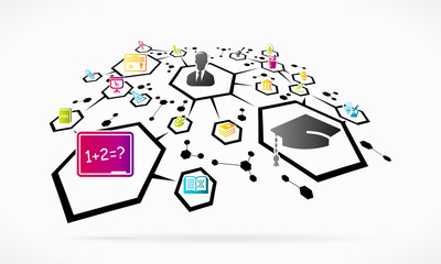 Abstract education network grid illustration