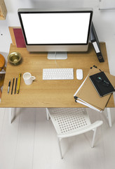 Aerial view of a modern creative workspace.