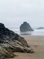 The Surf Rolling in on a Rocky Beach on the Oregon Coast USA