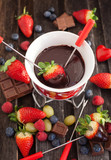 Chocolate fondue with fresh berries