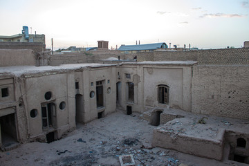 Ruined traditional adobe houses in Yazd, Iran