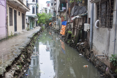 Dirty sewer in Hanoi, Vietnam