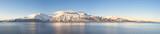 Fototapety Hi-res panorama of Norwegian fjords into the sea. 1/4.7 Ratio