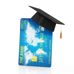 Credit Card with Graduation Cap. Education Concept