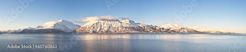 Hi-res panorama of Norwegian fjords into the sea. 1/4.7 Ratio